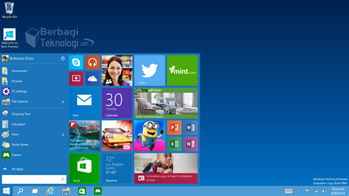 Windows 10 Preview Start Menu