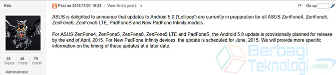 Jadwal Update Lollipop ZenFone Series