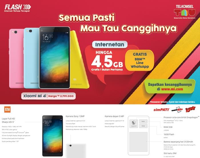 Paket Bundling Telkomsel Xiaomi Mi 4i Gratis Kuota 4 5gb Begini