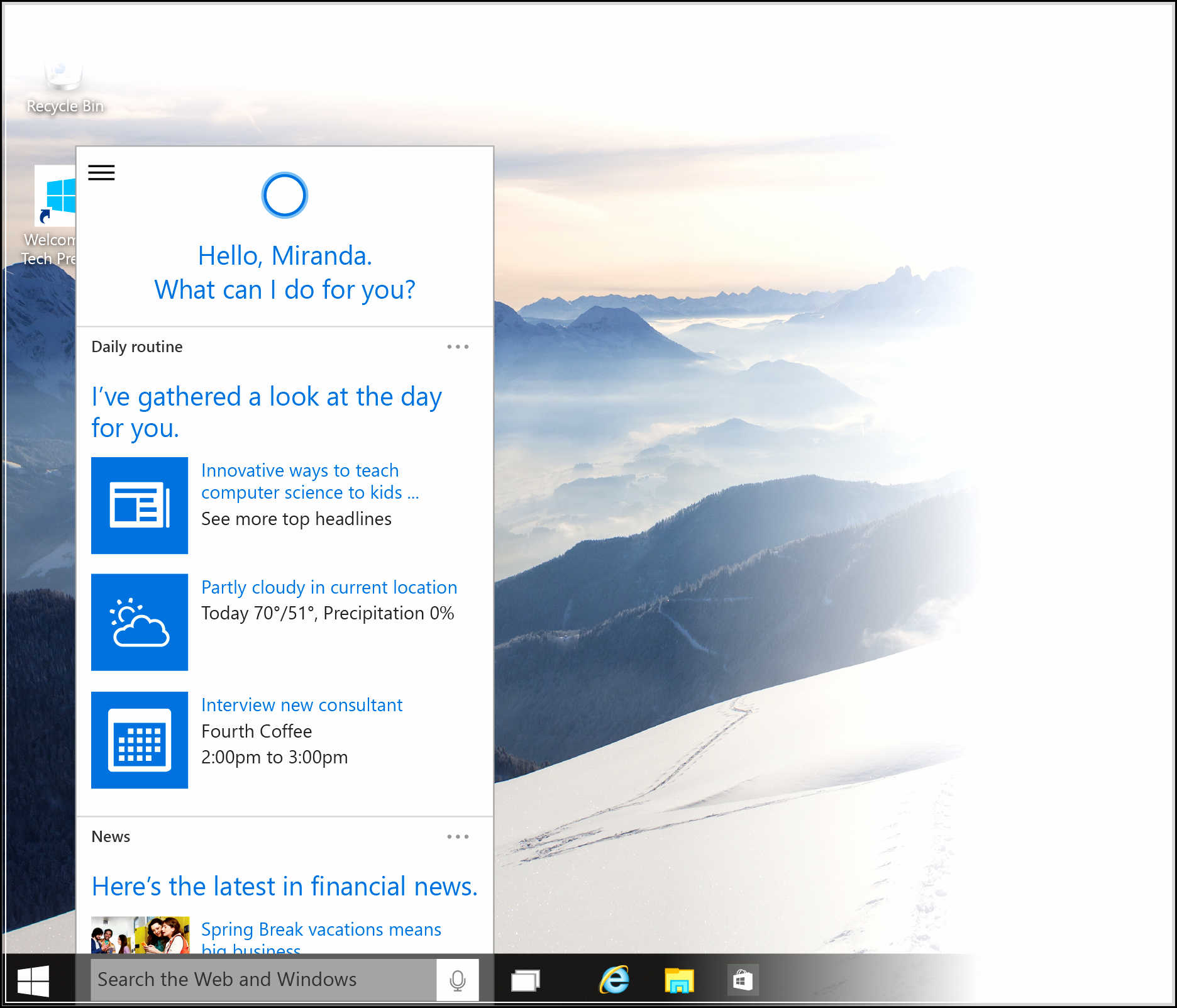 how to use cortana windows 10
