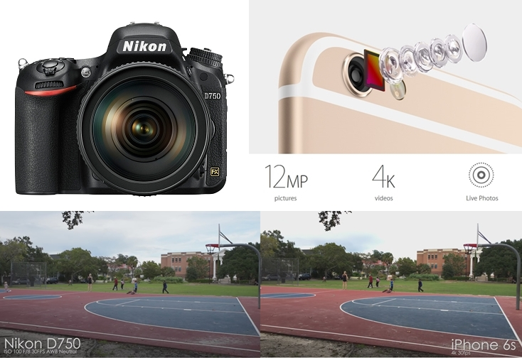 Nikon DSLR D750 vs iPhone 6s